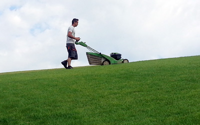Mowing the lawn on a green roof