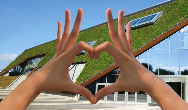 Two hands forming a heart shape around a pitched green roof