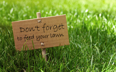 "Lawn sign ""Don't forget to feed your lawn"""