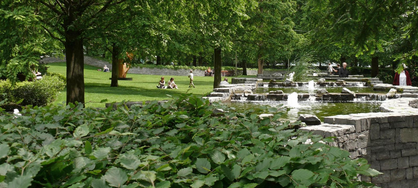 Park with trees and water basis with fountains