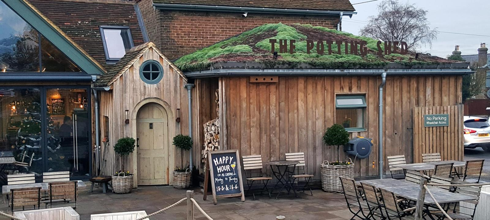 Pub with a pitched green roof