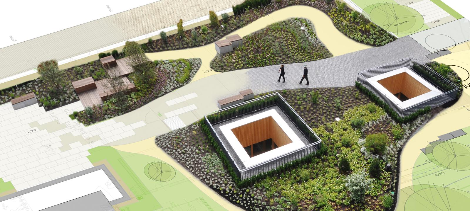 Architectural plan of a green roof