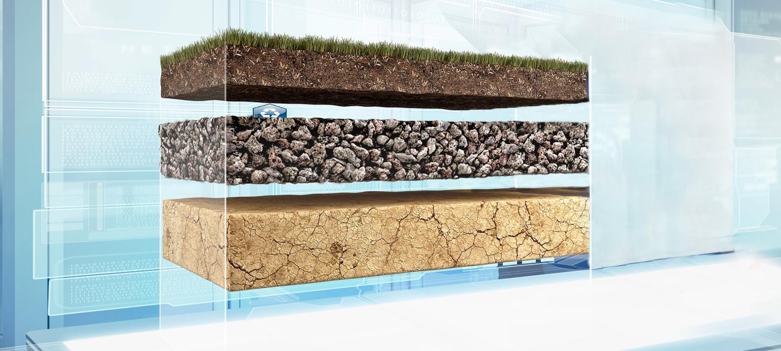 Illustrated build-up of soil layers and vegetation