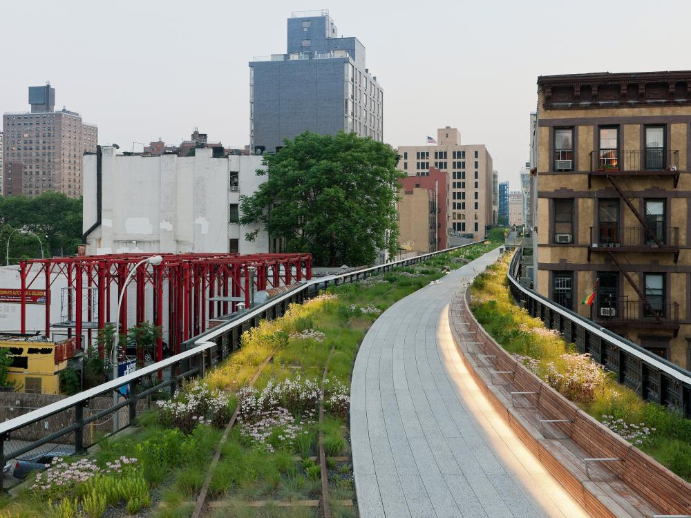 Illuminated walkways of The High Line