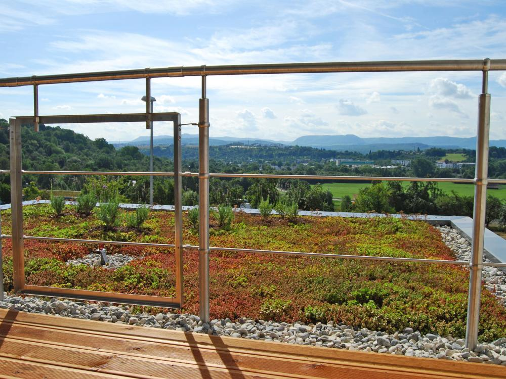 Roof garden with railing