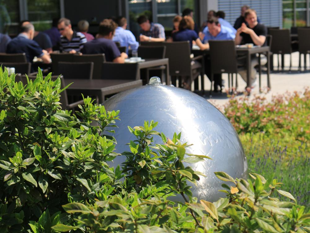 Lunch on a roof garden with water features