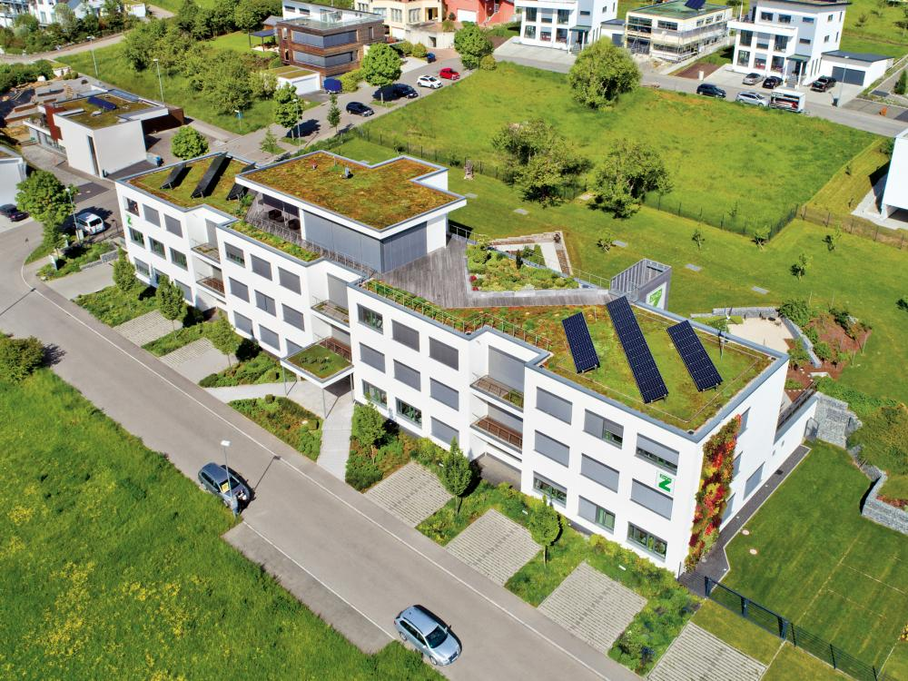 Roof garden on the headquarters of ZinCo GmbH in Nuertingen, Germany