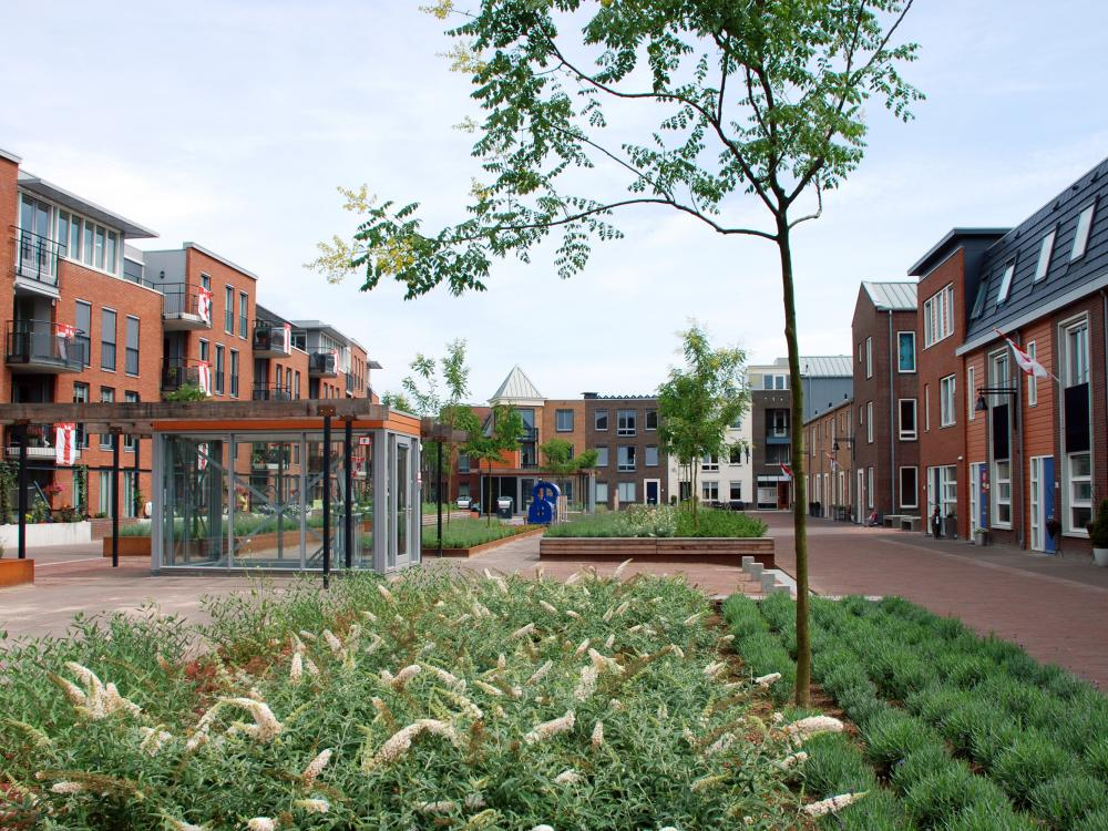 Large courtyard with plant beds and small trees, surrounded by residential buildings