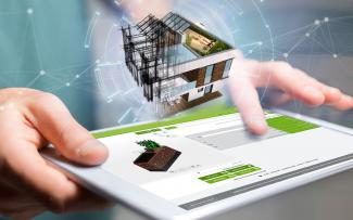 Architectural model floating above tablet PC