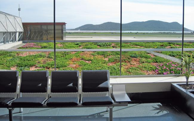 View from the waiting hall across the green roof