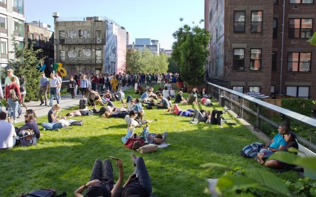 Lawn with lots of people sunbathing