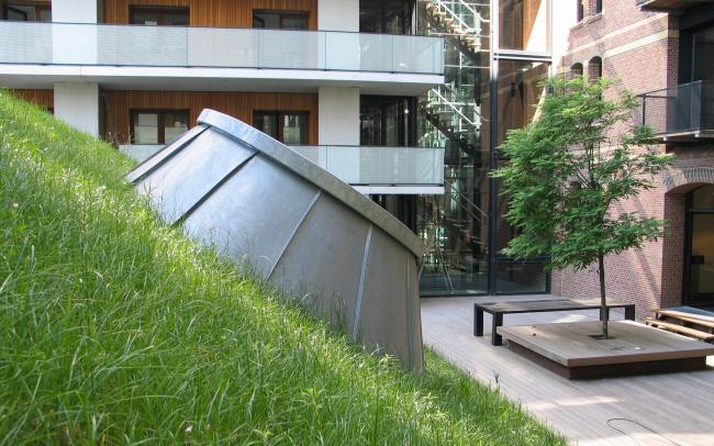 Pitched green roof with skylights